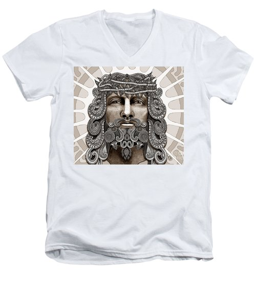 Redeemer - Modern Jesus Iconography - Copyrighted Men's V-Neck T-Shirt by Christopher Beikmann