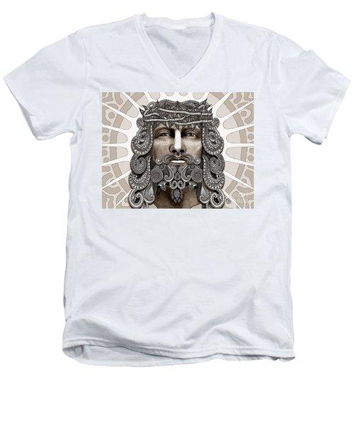 Redeemer - Modern Jesus Iconography - Copyrighted Men's V-Neck T-Shirt