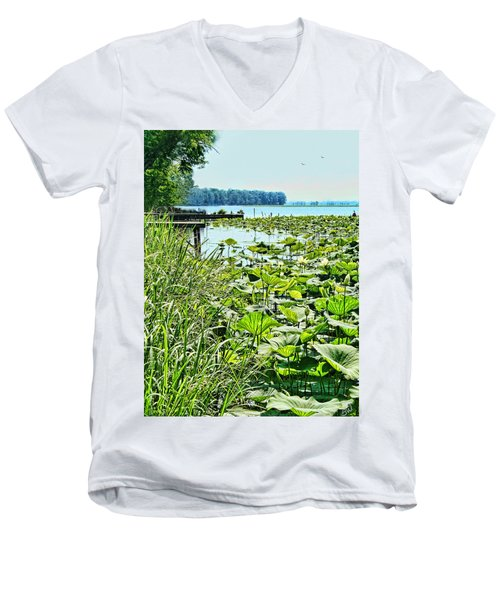 Reelfoot Lake Lilly Pads Men's V-Neck T-Shirt by Bonnie Willis
