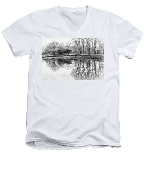 Reflection In Black And White Men's V-Neck T-Shirt by Julie Palencia
