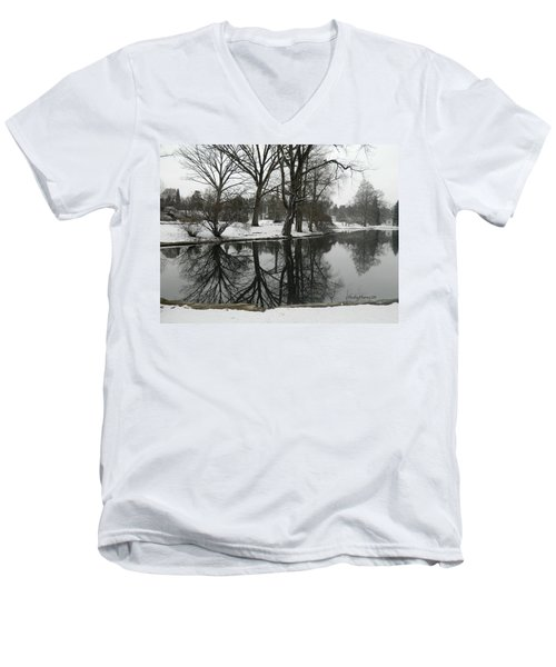 Reflection Pond Spring Grove Cemetery Men's V-Neck T-Shirt by Kathy Barney