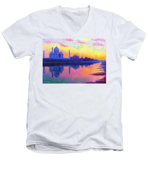 Taj Mahal, Reflections Of India Men's V-Neck T-Shirt