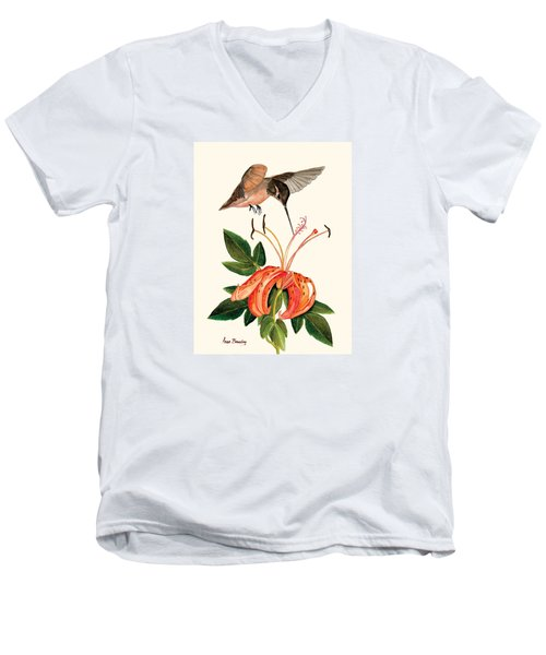 Men's V-Neck T-Shirt featuring the painting Refueling In Flight by Anne Beverley-Stamps