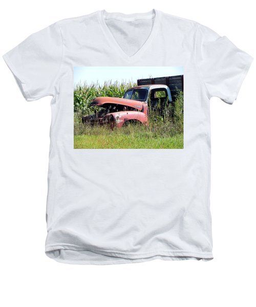 Men's V-Neck T-Shirt featuring the photograph Retired by Deb Halloran