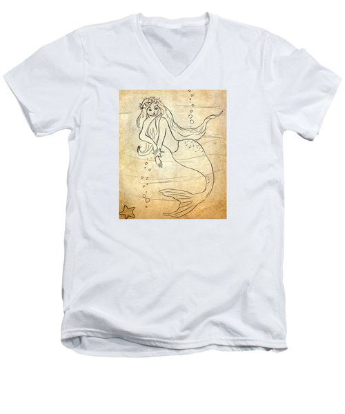 Men's V-Neck T-Shirt featuring the drawing Retro Mermaid by Rosalie Scanlon