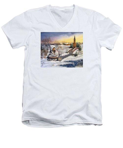 Men's V-Neck T-Shirt featuring the painting Return by Vesna Martinjak