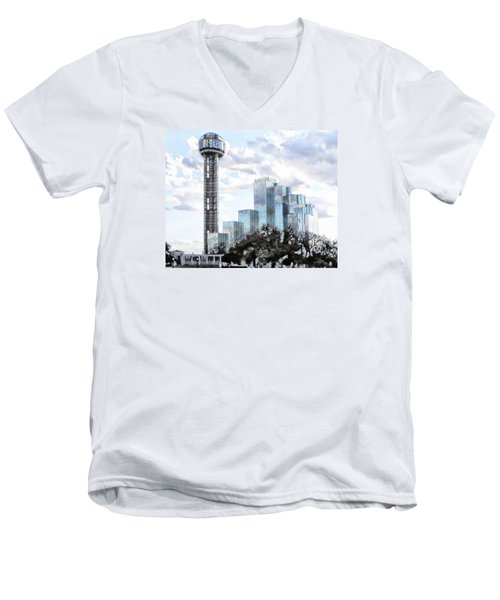 Reunion Tower Dallas Texas Men's V-Neck T-Shirt