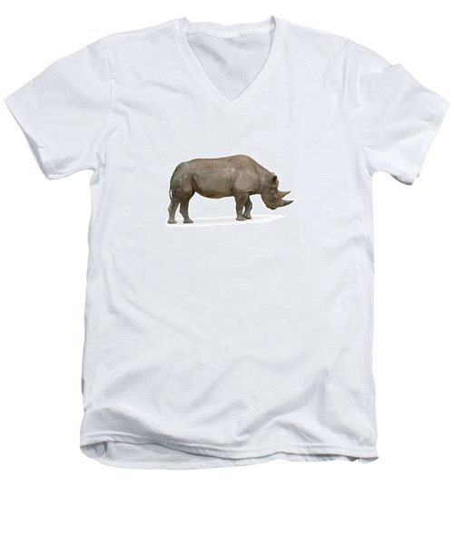 Men's V-Neck T-Shirt featuring the photograph Rhinoceros by Charles Beeler