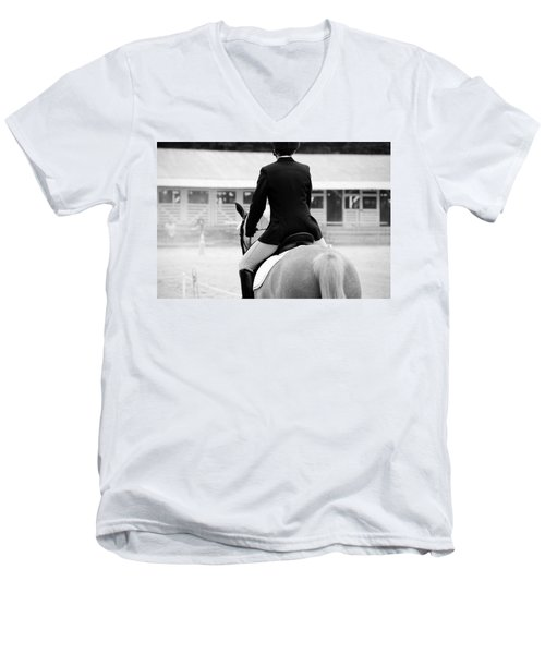 Rider In Black And White Men's V-Neck T-Shirt