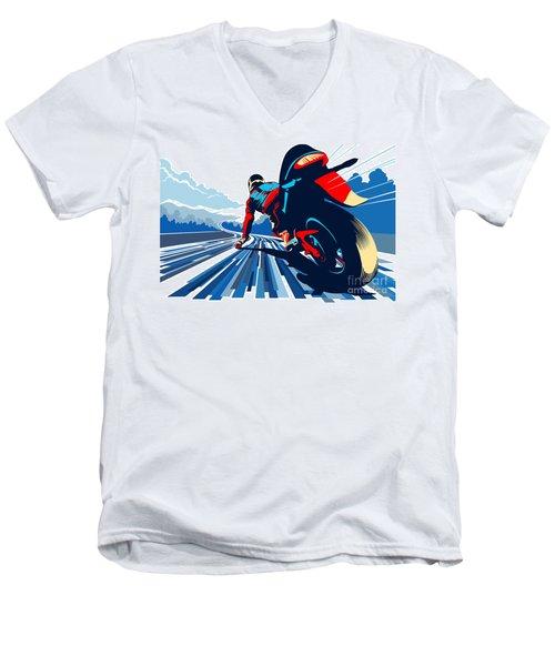Riding On The Edge Men's V-Neck T-Shirt by Sassan Filsoof