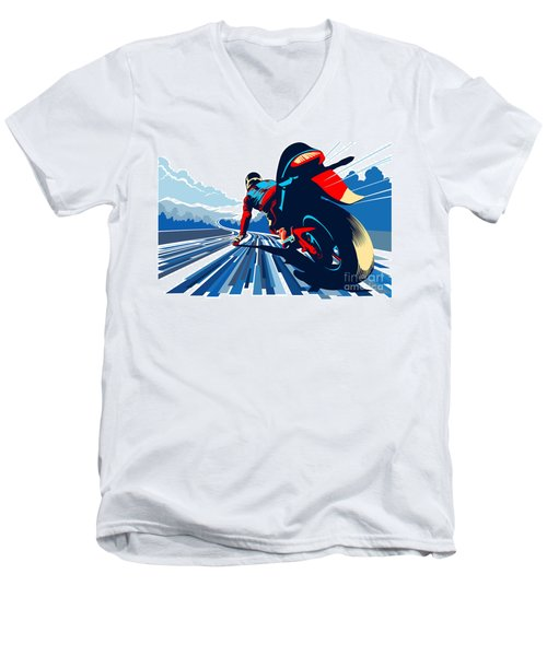 Riding On The Edge Men's V-Neck T-Shirt