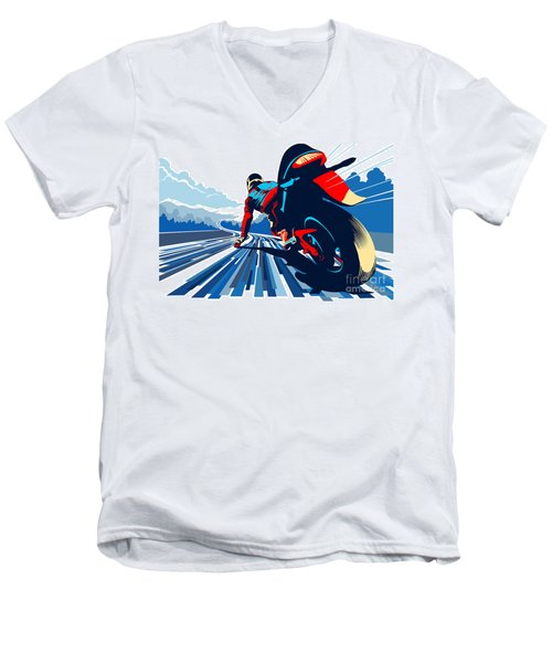Riding On The Edge Men's V-Neck T-Shirt
