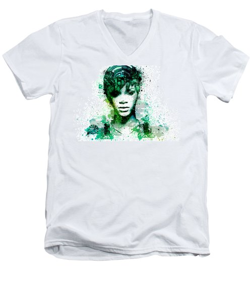 Rihanna 5 Men's V-Neck T-Shirt by Bekim Art