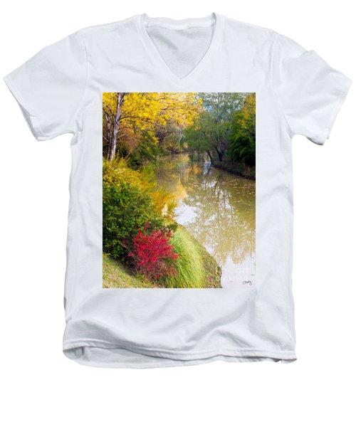 River With Autumn Colors Men's V-Neck T-Shirt