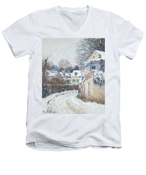 Road Louveciennes Men's V-Neck T-Shirt by Alfred Sisley