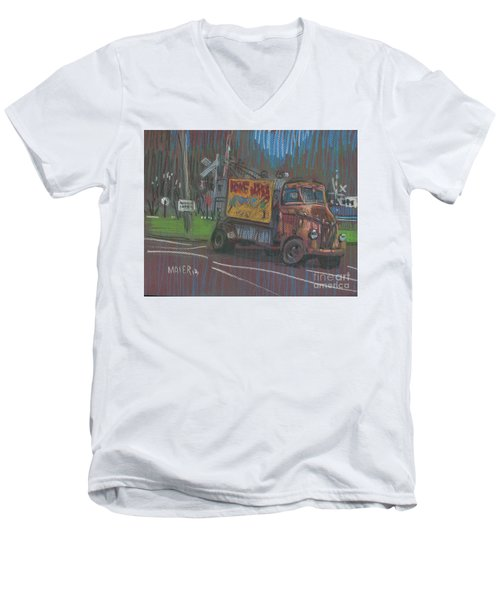 Men's V-Neck T-Shirt featuring the painting Roadside Advertising by Donald Maier