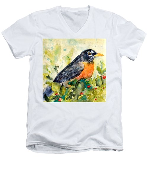 Men's V-Neck T-Shirt featuring the painting Robin In The Holly by Beverley Harper Tinsley