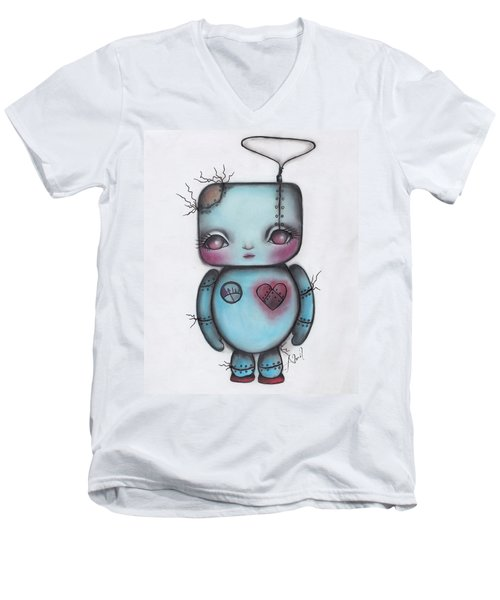 Robot Men's V-Neck T-Shirt by Abril Andrade Griffith