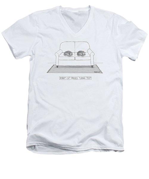 Robot Cat Passes Turing Test Men's V-Neck T-Shirt