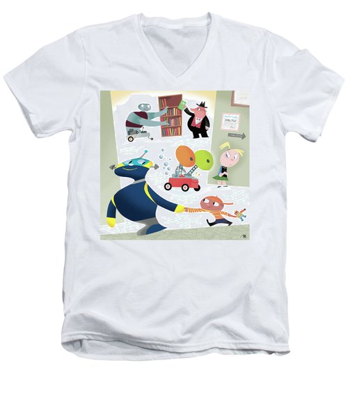 Robots And Children At School Men's V-Neck T-Shirt