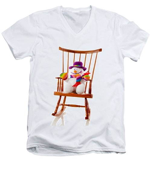 Men's V-Neck T-Shirt featuring the photograph Happy Snowman Sitting In A Rocking Chair  by Vizual Studio