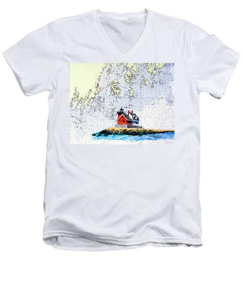 Rockland Breakwater Light Men's V-Neck T-Shirt by Mike Robles