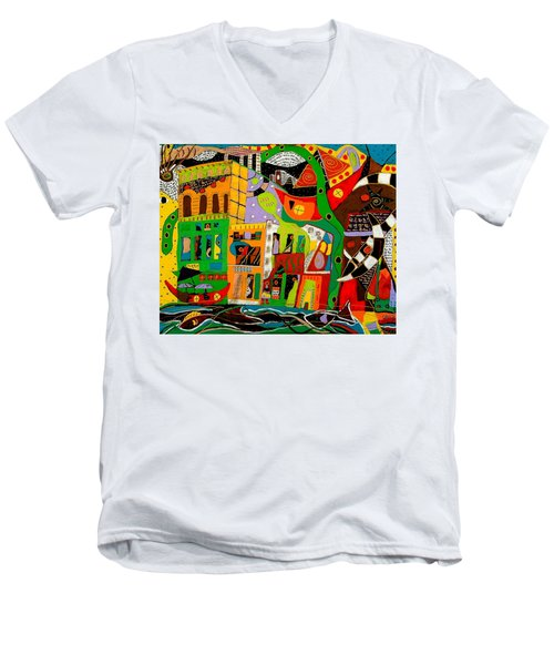 Men's V-Neck T-Shirt featuring the painting Rockland by Clarity Artists