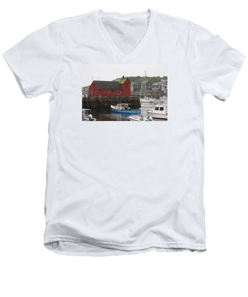 Rockport Inner Harbor With Lobster Fleet And Motif No.1 Men's V-Neck T-Shirt by Christiane Schulze Art And Photography