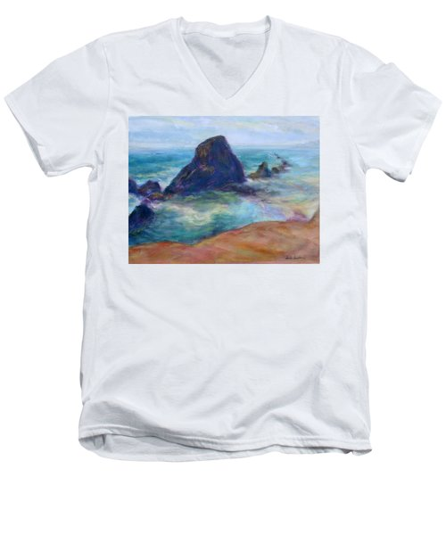 Rocks Heading North - Scenic Landscape Seascape Painting Men's V-Neck T-Shirt