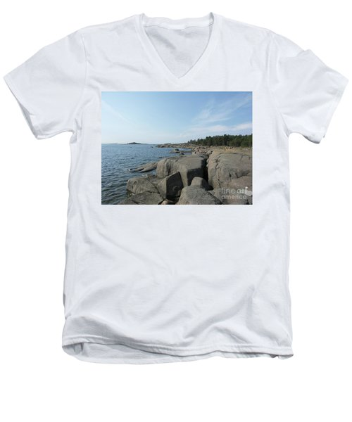 Rocky Seashore 2 In Hamina  Men's V-Neck T-Shirt