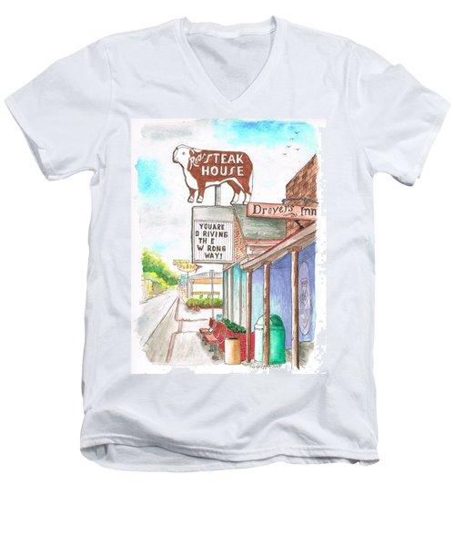 Rod's Steak House In Route 66 - Williams - Arizona Men's V-Neck T-Shirt by Carlos G Groppa