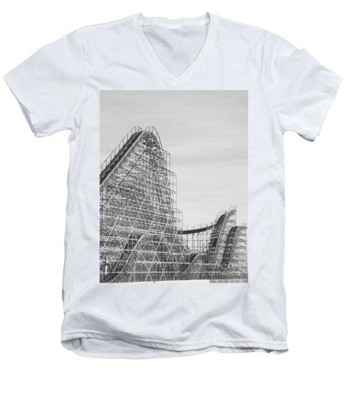 Roller Coaster Wildwood Men's V-Neck T-Shirt by Eric  Schiabor