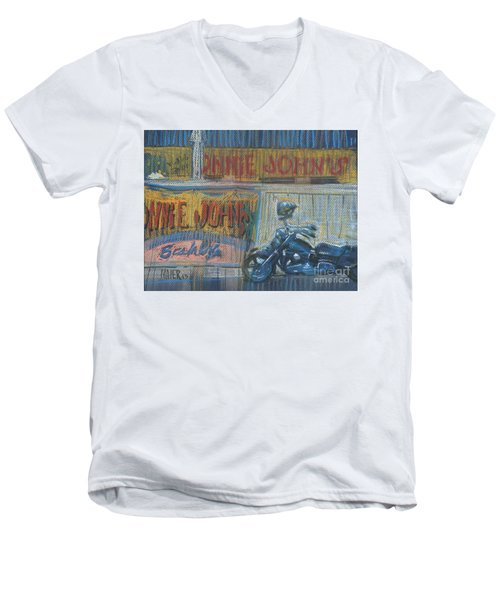 Men's V-Neck T-Shirt featuring the painting Ronnie's Bike by Donald Maier