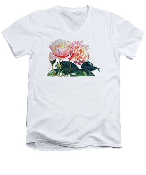 Pink And Yellow Rose Anne Men's V-Neck T-Shirt