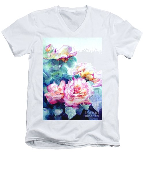 Men's V-Neck T-Shirt featuring the painting Pink Rose Bush by Greta Corens