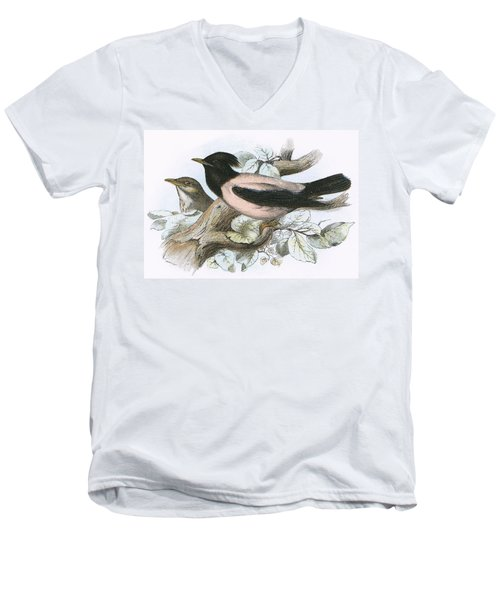 Rose Coloured Starling Men's V-Neck T-Shirt by English School