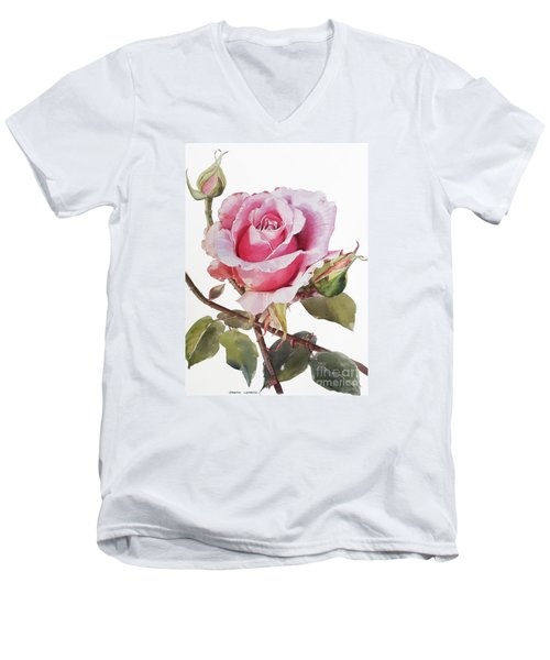 Pink Rose Grace Men's V-Neck T-Shirt by Greta Corens