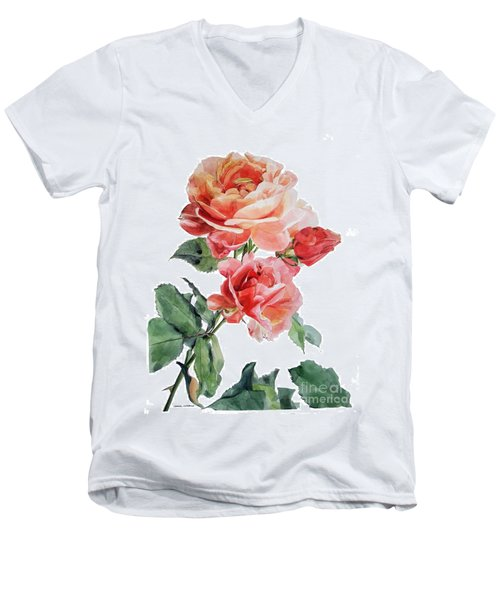 Watercolor Of Red Roses On A Stem I Call Rose Maurice Corens Men's V-Neck T-Shirt