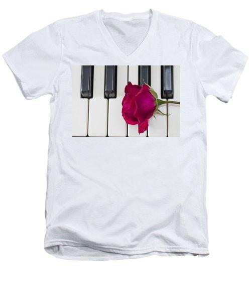 Rose Over Piano Keys Men's V-Neck T-Shirt