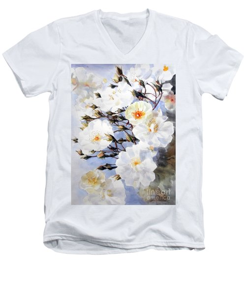 Wartercolor Of White Roses On A Branch I Call Rose Tchaikovsky Men's V-Neck T-Shirt
