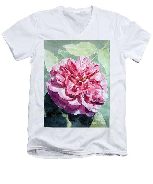 Pink Rose Van Gogh Men's V-Neck T-Shirt by Greta Corens