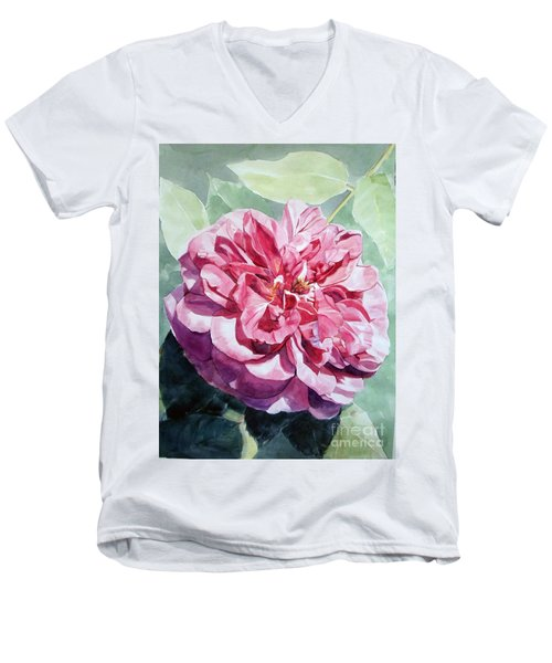 Watercolor Of A Pink Rose In Full Bloom Dedicated To Van Gogh Men's V-Neck T-Shirt