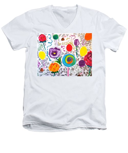 Roses And Lollipops For Mom Men's V-Neck T-Shirt
