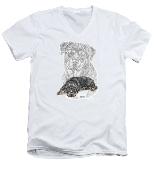 Men's V-Neck T-Shirt featuring the drawing Rottie Charm - Rottweiler Dog Print With Color by Kelli Swan