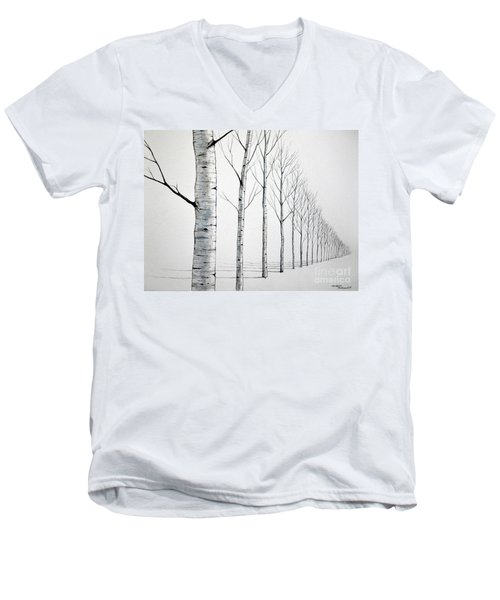 Men's V-Neck T-Shirt featuring the painting Row Of Birch Trees In The Snow by Christopher Shellhammer