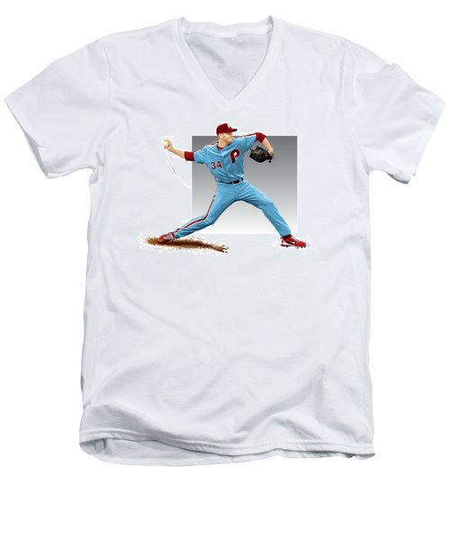 Roy Halladay Men's V-Neck T-Shirt by Scott Weigner