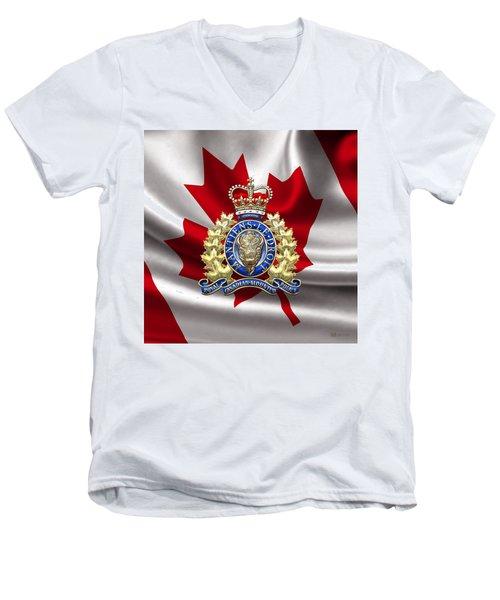 Royal Canadian Mounted Police - Rcmp Badge Over Waving Flag Men's V-Neck T-Shirt by Serge Averbukh