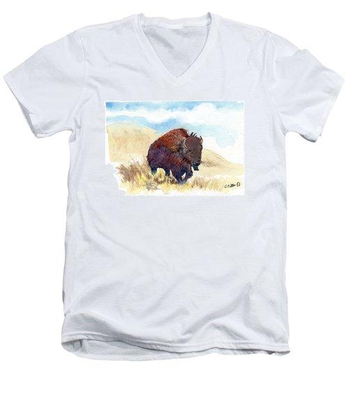 Running Buffalo Men's V-Neck T-Shirt by C Sitton