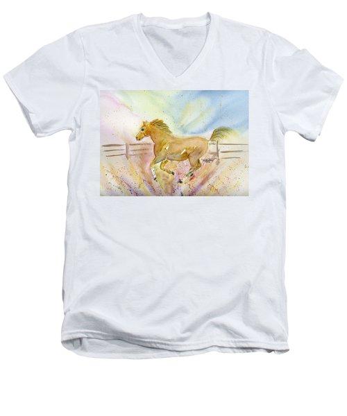 Running Horse Men's V-Neck T-Shirt