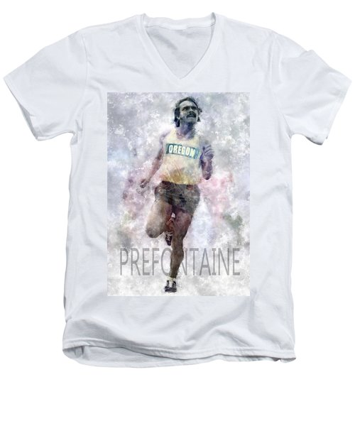 Running Legend Steve Prefontaine Men's V-Neck T-Shirt by Daniel Hagerman